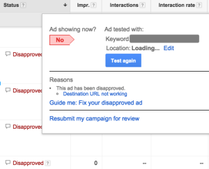 adwords ad disapproved